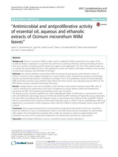 Antimicrobial and antiproliferative activity of essential