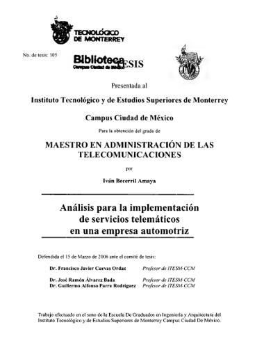 Análisis Para La Implementación De Servicios Telemáticos En